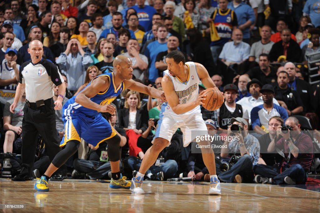 <a gi-track='captionPersonalityLinkClicked' href=/galleries/search?phrase=Andre+Miller&family=editorial&specificpeople=201678 ng-click='$event.stopPropagation()'>Andre Miller</a> #24 of the Denver Nuggets looks to pass the ball against the Golden State Warriors in Game Five of the Western Conference Quarterfinals during the 2013 NBA Playoffs on April 30, 2013 at the Pepsi Center in Denver, Colorado.