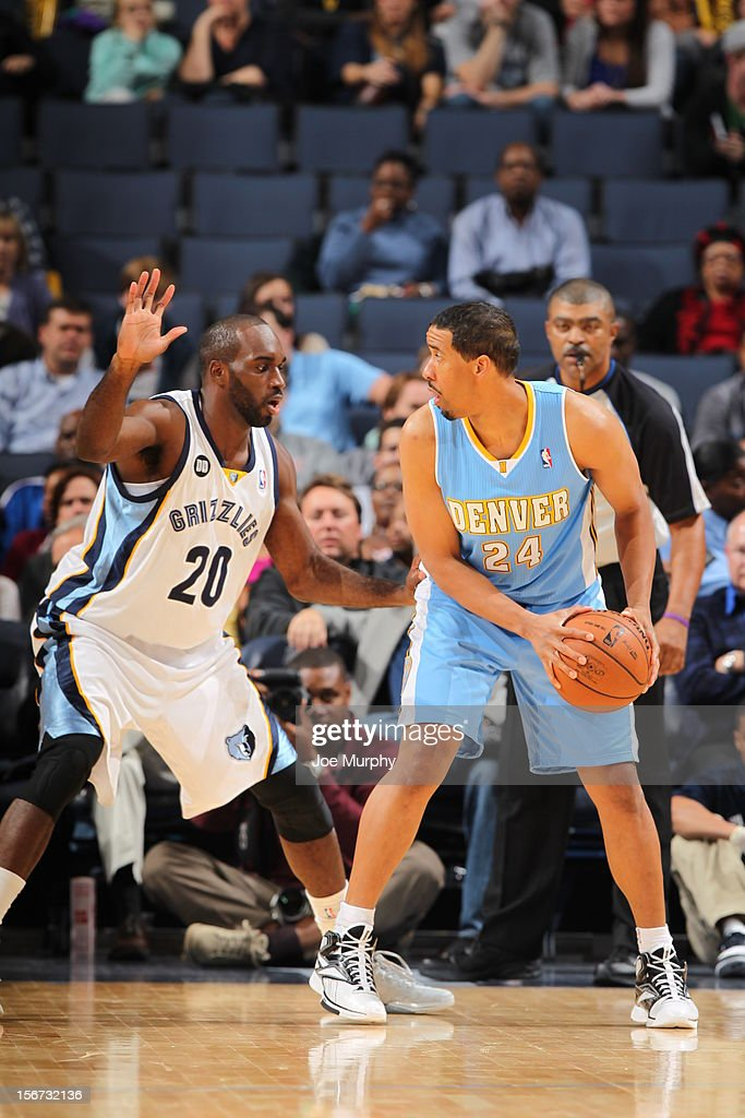 <a gi-track='captionPersonalityLinkClicked' href=/galleries/search?phrase=Andre+Miller&family=editorial&specificpeople=201678 ng-click='$event.stopPropagation()'>Andre Miller</a> #24 of the Denver Nuggets looks to pass the ball vs the Memphis Grizzlies on November 19, 2012 at FedExForum in Memphis, Tennessee.