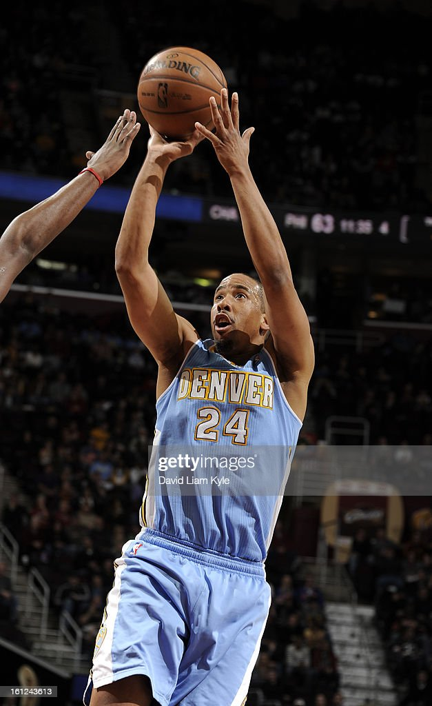 <a gi-track='captionPersonalityLinkClicked' href=/galleries/search?phrase=Andre+Miller&family=editorial&specificpeople=201678 ng-click='$event.stopPropagation()'>Andre Miller</a> #24 of the Denver Nuggets shoots a jumper against the Cleveland Cavaliers at The Quicken Loans Arena on February 9, 2013 in Cleveland, Ohio.