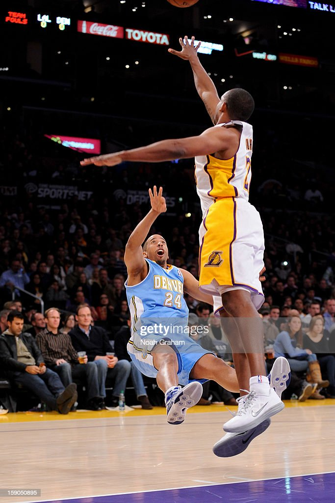 Andre Miller #24 of the Denver Nuggets shoots against Jodie Meeks #20 of the Los Angeles Lakers at Staples Center on January 6, 2013 in Los Angeles, California.