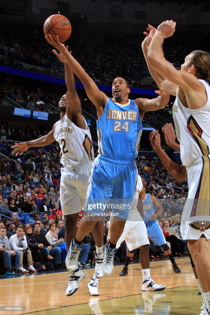 Andre Miller #24 of the Denver Nuggets shoots against the New Orleans Pelicans on December 27, 2013 at the New Orleans Arena in New Orleans, Louisiana.