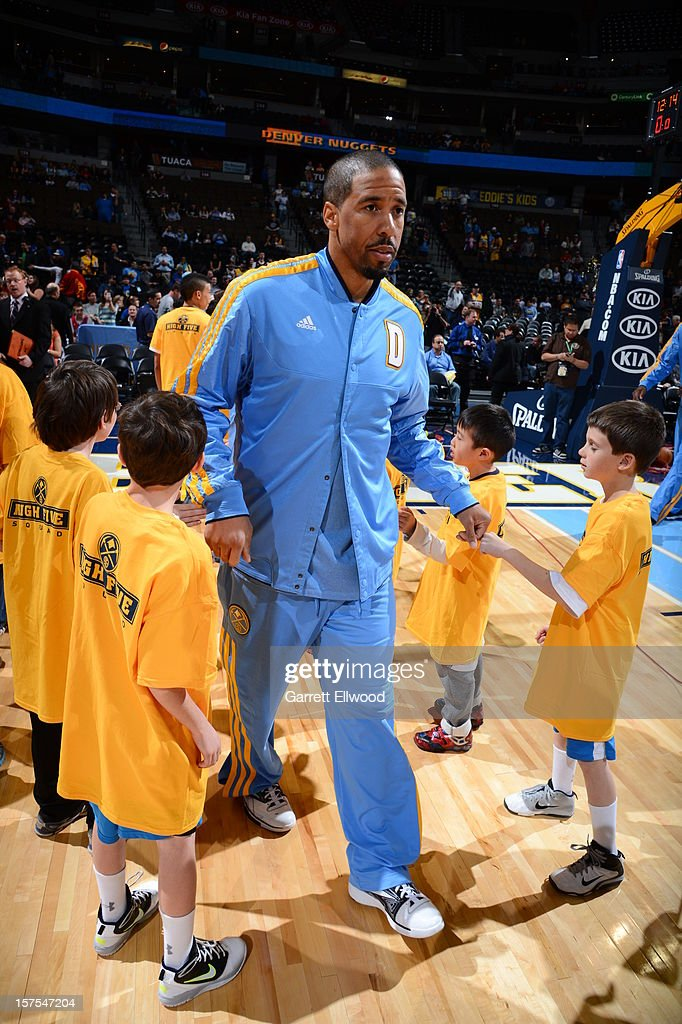 <a gi-track='captionPersonalityLinkClicked' href=/galleries/search?phrase=Andre+Miller&family=editorial&specificpeople=201678 ng-click='$event.stopPropagation()'>Andre Miller</a> #24 of the Denver Nuggets walks out before the game against the Toronto Raptors on December 3, 2012 at the Pepsi Center in Denver, Colorado.