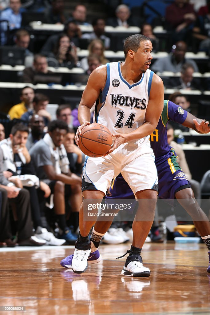<a gi-track='captionPersonalityLinkClicked' href=/galleries/search?phrase=Andre+Miller&family=editorial&specificpeople=201678 ng-click='$event.stopPropagation()'>Andre Miller</a> #24 of the Minnesota Timberwolves defends the ball against the New Orleans Pelicans during the game on February 8, 2016 at Target Center in Minneapolis, Minnesota.