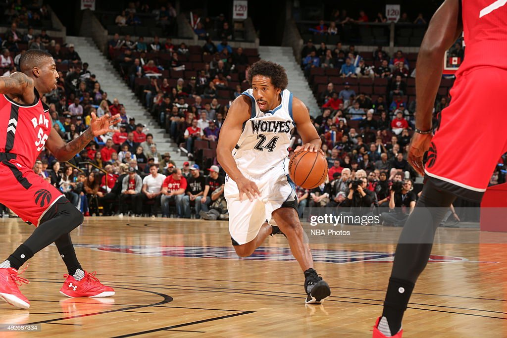 <a gi-track='captionPersonalityLinkClicked' href=/galleries/search?phrase=Andre+Miller&family=editorial&specificpeople=201678 ng-click='$event.stopPropagation()'>Andre Miller</a> #24 of the Minnesota Timberwolves dribbles the ball against the Toronto Raptors at Canadian Tire Centre on October 14, 2015 in Ottawa, Ontario, Canada.