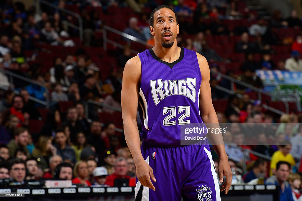 <a gi-track='captionPersonalityLinkClicked' href=/galleries/search?phrase=Andre+Miller&family=editorial&specificpeople=201678 ng-click='$event.stopPropagation()'>Andre Miller</a> #22 of the Sacramento Kings looks on against the Philadelphia 76ers at the Wells Fargo Center on March 13, 2015 in Philadelphia, Pennsylvania.