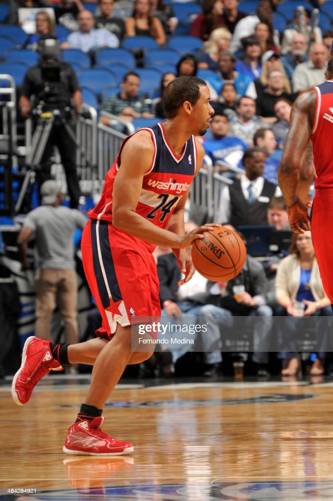 Andre Miller #24 of the Washington Wizards dribbles the ball against the Orlando Magic during the game on April 11, 2014 at Amway Center in Orlando, Florida.