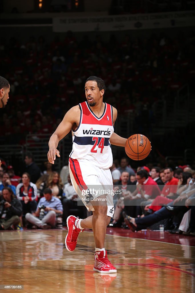 Andre Miller #24 of the Washington Wizards dribbles the ball against the Chicago Bulls in Game Three of the Eastern Conference Quarterfinals during the 2014 NBA Playoffs at the Verizon Center on April 25, 2014 in Washington, DC.