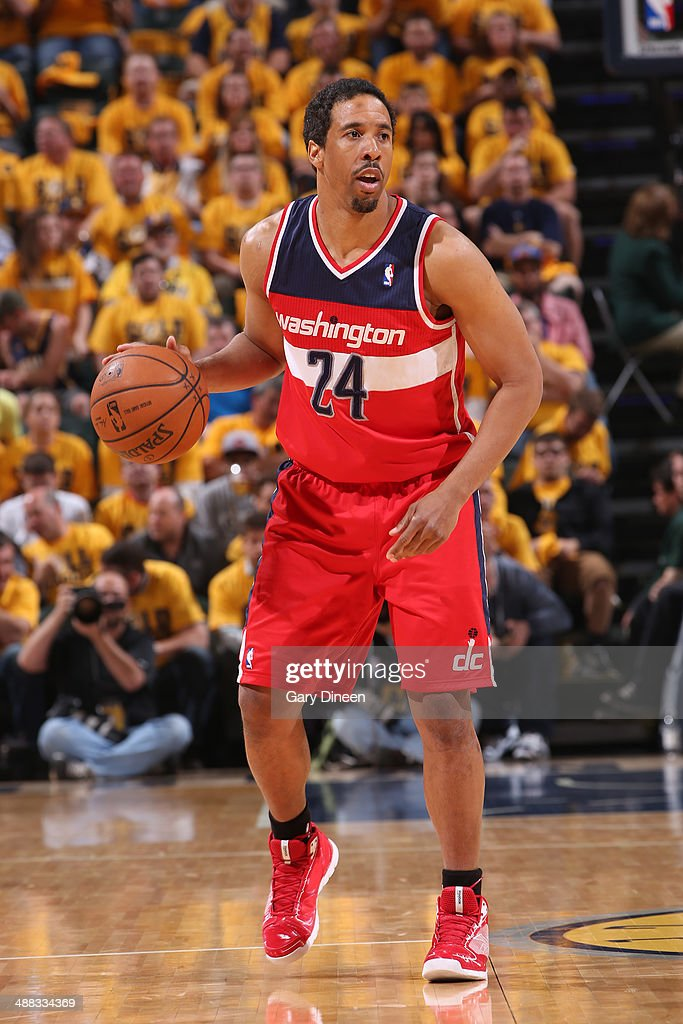 Andre Miller #24 of the Washington Wizards dribbles the ball against the Indiana Pacers during Game One of the Eastern Conference Semifinals on May 5, 2014 at Bankers Life Fieldhouse in Indianapolis, Indiana.