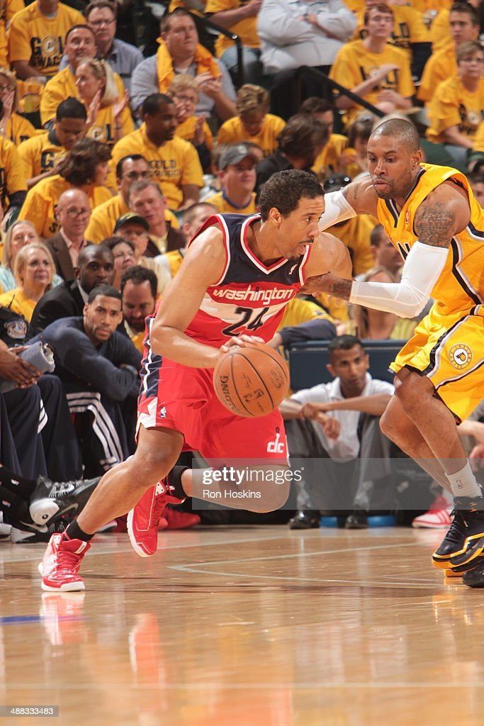 Andre Miller #24 of the Washington Wizards drives against the Indiana Pacers in Game One of the Eastern Conference Semi-Finals during the 2014 NBA Playoffs at Bankers Life Fieldhouse on May 5, 2014 in Indianapolis, Indiana.