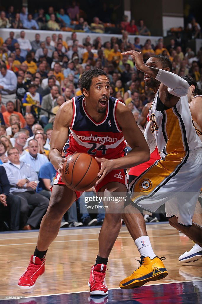 Andre Miller #24 of the Washington Wizards drives against the Indiana Pacers in Game Five of the Eastern Conference Semifinals during the 2014 NBA Playoffs on May 13, 2014 at Bankers Life Fieldhouse in Indianapolis, Indiana.