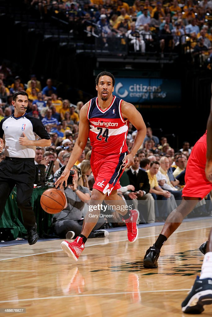 Andre Miller #24 of the Washington Wizards drives against the Indiana Pacers during Game Two of the Eastern Conference Semifinals on May 7, 2014 at Bankers Life Fieldhouse in Indianapolis, Indiana.