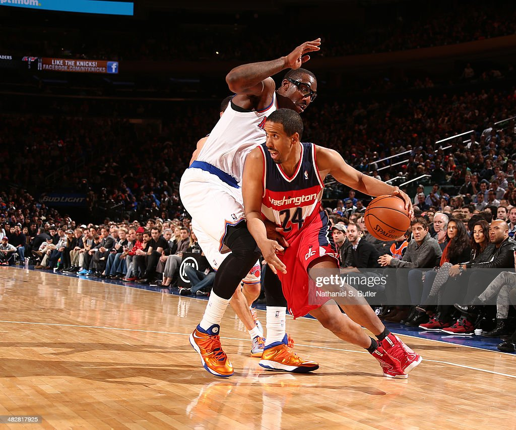 Andre Miller #24 of the Washington Wizards drives against the New York Knicks during a game at Madison Square Garden in New York City.