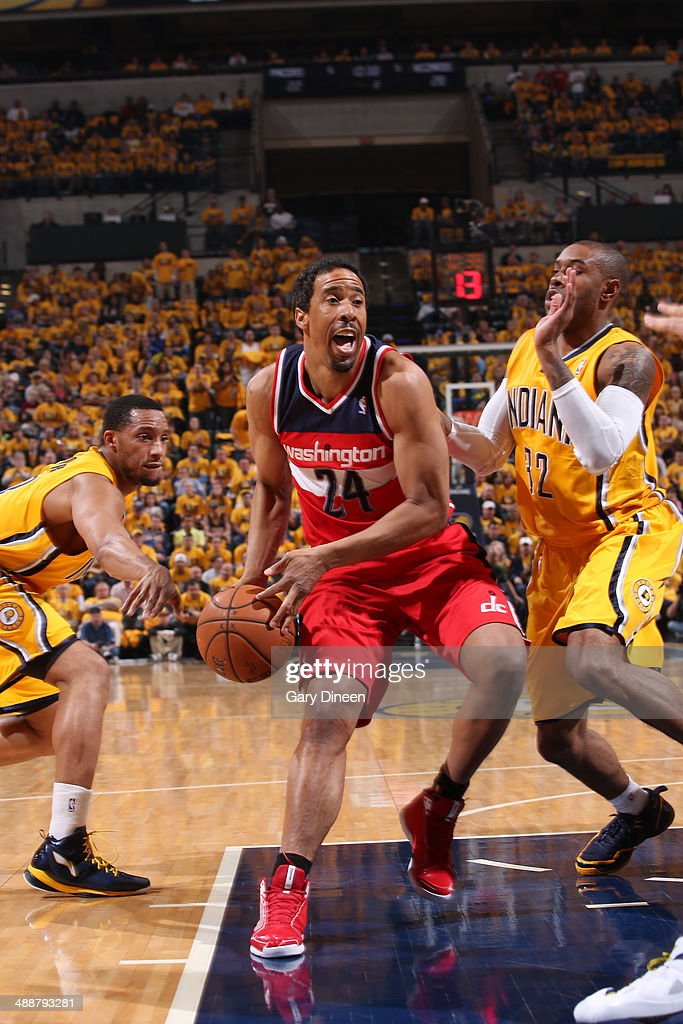 <a gi-track='captionPersonalityLinkClicked' href=/galleries/search?phrase=Andre+Miller&family=editorial&specificpeople=201678 ng-click='$event.stopPropagation()'>Andre Miller</a> #24 of the Washington Wizards drives to the basket during Game One of the Eastern Conference Semifinals against the Indiana Pacers on May 5, 2014 at Bankers Life Fieldhouse in Indianapolis, Indiana.