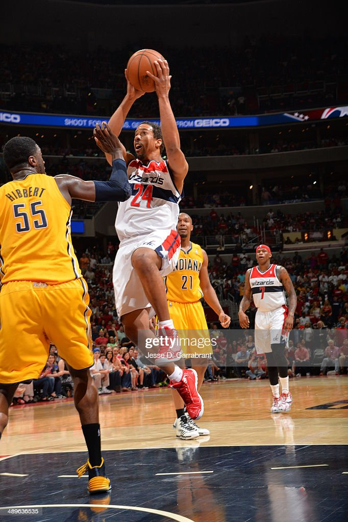 Andre Miller #24 of the Washington Wizards goes up for the layup against the Indiana Pacers during Game Four of the Western Conference Semifinals on May 11, 2014 at the Verizon Center, in Washington DC.