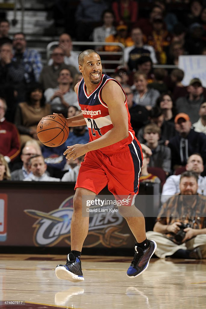 Andre Miller #24 of the Washington Wizards handles the ball against the Cleveland Cavaliers at The Quicken Loans Arena on February 23, 2014 in Cleveland, Ohio.