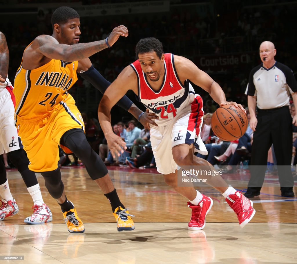 Andre Miller #24 of the Washington Wizards handles the ball against the Indiana Pacers in Game Four of the Eastern Conference Semifinals at Verizon Center on May 11, 2014 in Washington, DC.