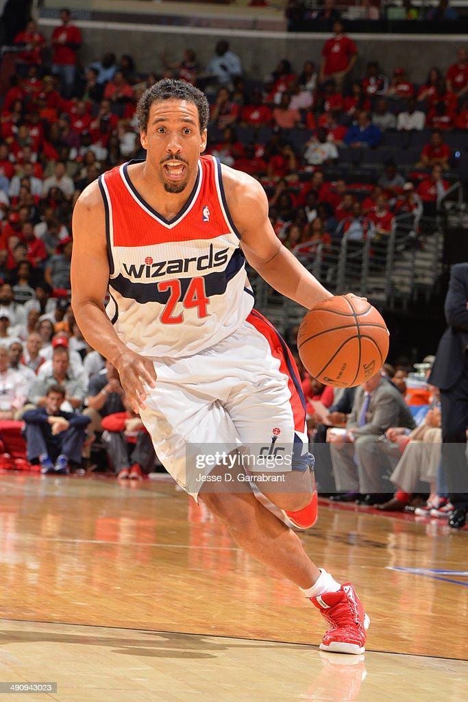 Andre Miller #24 of the Washington Wizards handles the ball against the Indiana Pacers in Game 6 of the Eastern Conference Semifinals during the 2014 NBA Playoffs on May 15, 2014 at the Verizon Center in Washington, DC.