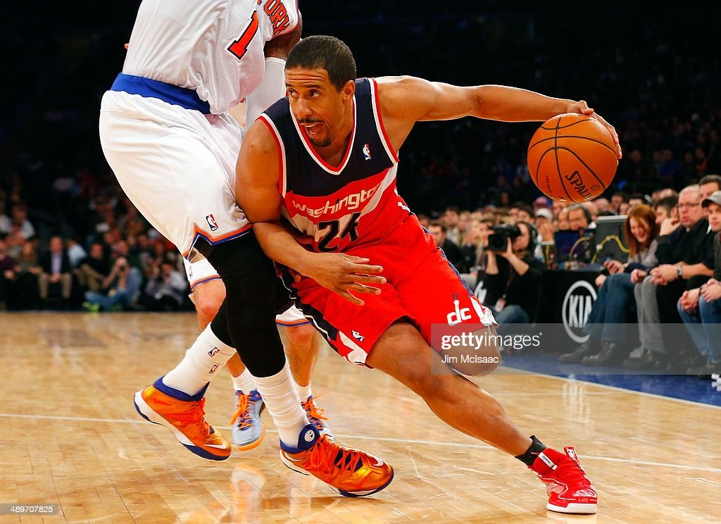 Andre Miller #24 of the Washington Wizards in action against the New York Knicks at Madison Square Garden on April 4, 2014 in New York City. The Wizards defeated the Knicks 90-89.