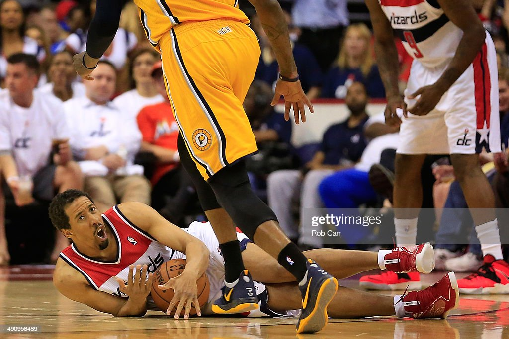 Andre Miller #24 of the Washington Wizards looks for a foul call against Paul George #24 of the Indiana Pacers during Game Six of the Eastern Conference Semifinals during the 2014 NBA Playoffs at Verizon Center on May 15, 2014 in Washington, DC.
