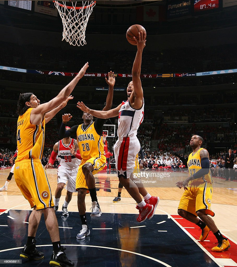 Andre Miller #24 of the Washington Wizards shoots against Luis Scola #4 of the Indiana Pacers in Game Six of the Eastern Conference Semifinals during the 2014 NBA Playoffs at the Verizon Center on May 15, 2014 in Washington, DC.