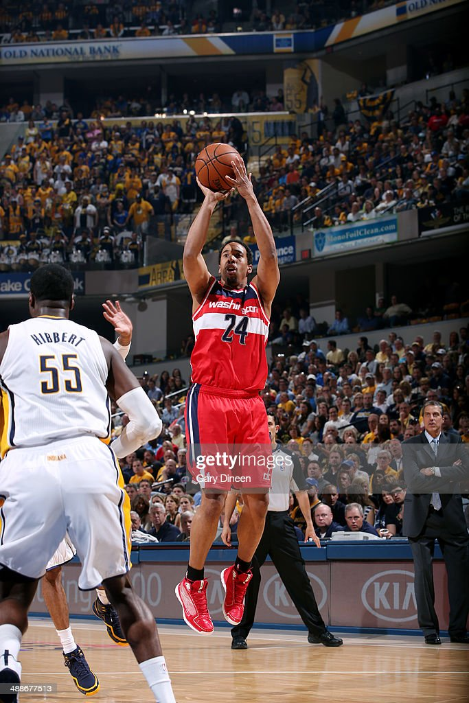 Andre Miller #24 of the Washington Wizards shoots against the Indiana Pacers during Game Two of the Eastern Conference Semifinals on May 7, 2014 at Bankers Life Fieldhouse in Indianapolis, Indiana.