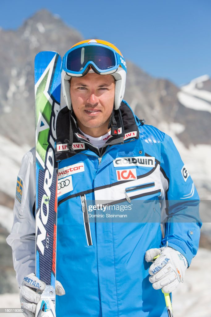 <a gi-track='captionPersonalityLinkClicked' href=/galleries/search?phrase=Andre+Myhrer&family=editorial&specificpeople=835341 ng-click='$event.stopPropagation()'>Andre Myhrer</a> from the Swedish Alpine Skiing Worldcup Team posing for a portrait on the Fee glacier on August 21 2013 in Saas-Fee, Switzerland.