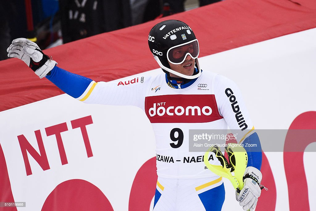 <a gi-track='captionPersonalityLinkClicked' href=/galleries/search?phrase=Andre+Myhrer&family=editorial&specificpeople=835341 ng-click='$event.stopPropagation()'>Andre Myhrer</a> of Sweden celebrates during the Audi FIS Alpine Ski World Cup Men's Slalom on February 14, 2016 in Naeba, Japan.
