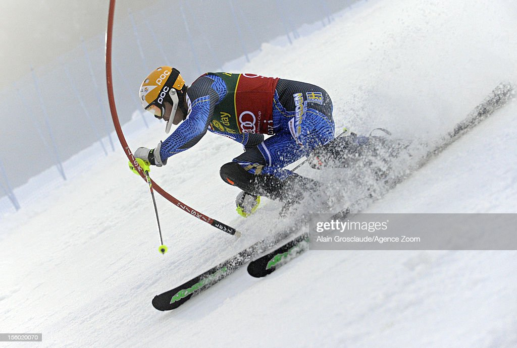 Andre Myhrer of Sweden competes during the Audi FIS Alpine Ski World Cup Men's Slalom on November 11, 2012 in Levi, Finland.