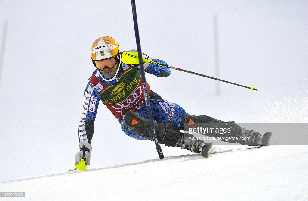 <a gi-track='captionPersonalityLinkClicked' href=/galleries/search?phrase=Andre+Myhrer&family=editorial&specificpeople=835341 ng-click='$event.stopPropagation()'>Andre Myhrer</a> of Sweden competes during the Audi FIS Alpine Ski World Cup Men's Slalom on November 11, 2012 in Levi, Finland.