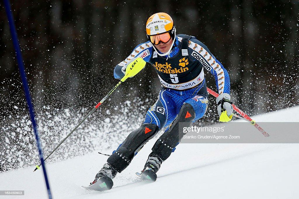 Andre Myhrer of Sweden competes during the Audi FIS Alpine Ski World Cup Men's Slalom on March 10, 2013 in Kranjska Gora, Slovenia.