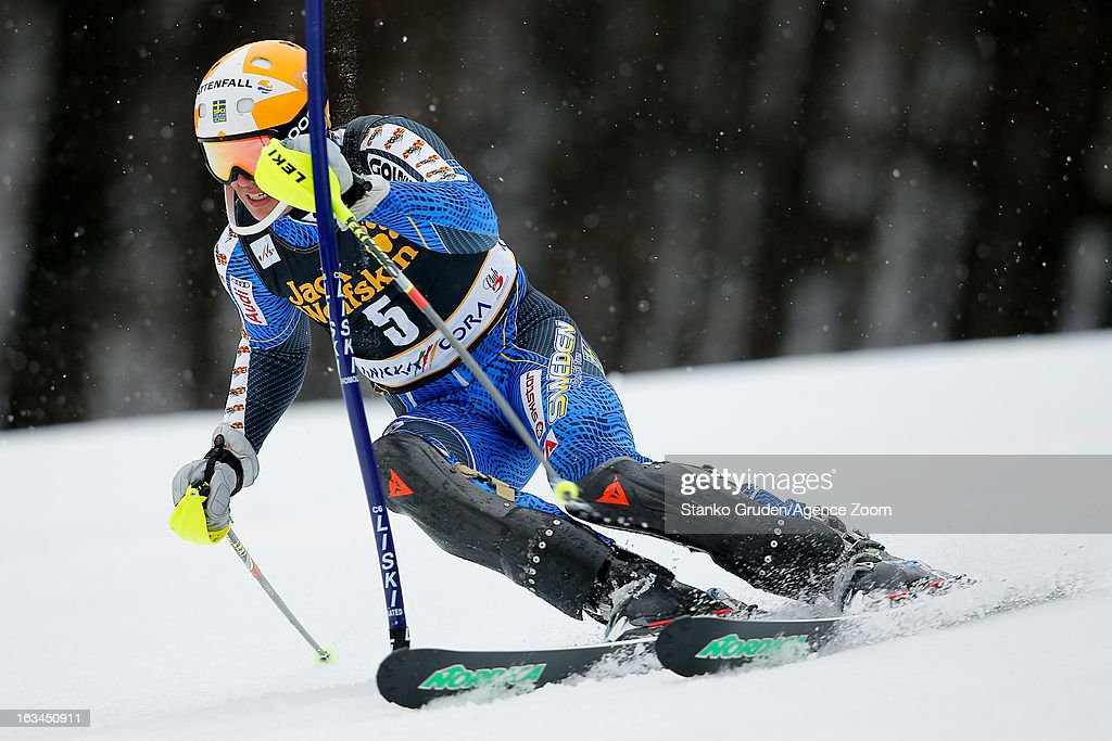 Andre Myhrer of Sweden competes during the Audi FIS Alpine Ski World Cup Men's Slalom on March 10, 2013 in Kranjska Gora, Slovenia.
