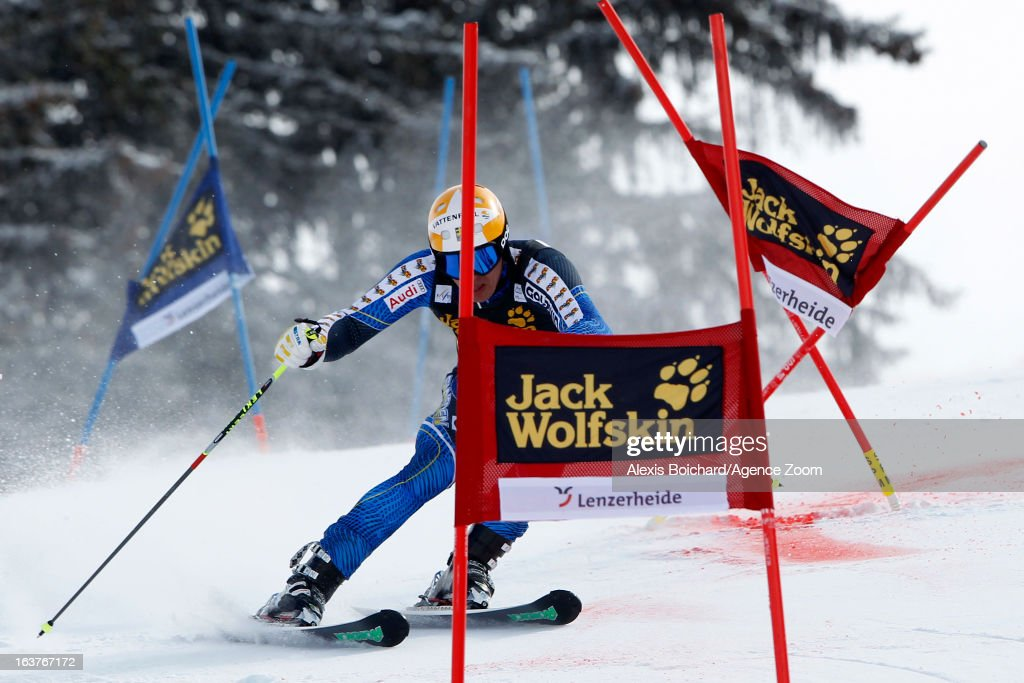 Andre Myhrer of Sweden competes during the Audi FIS Alpine Ski World Cup Nation's Team event on March 15, 2013 in Lenzerheide, Switzerland.