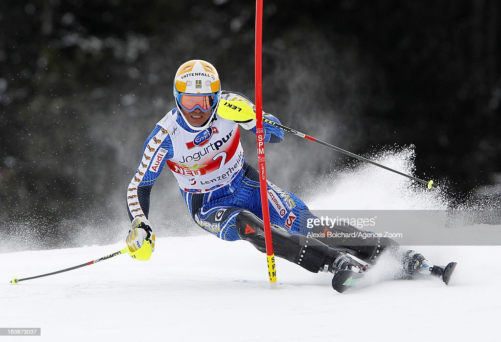 Andre Myhrer of Sweden competes during the Audi FIS Alpine Ski World Cup Men's Slalom on March 17, 2013 in Lenzerheide, Switzerland.