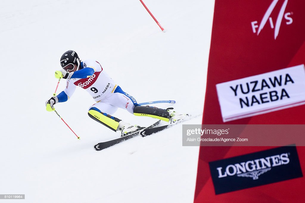 <a gi-track='captionPersonalityLinkClicked' href=/galleries/search?phrase=Andre+Myhrer&family=editorial&specificpeople=835341 ng-click='$event.stopPropagation()'>Andre Myhrer</a> of Sweden competes during the Audi FIS Alpine Ski World Cup Men's Slalom on February 14, 2016 in Naeba, Japan.