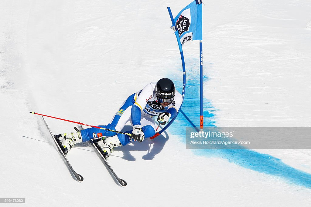 <a gi-track='captionPersonalityLinkClicked' href=/galleries/search?phrase=Andre+Myhrer&family=editorial&specificpeople=835341 ng-click='$event.stopPropagation()'>Andre Myhrer</a> of Sweden competes during the Audi FIS Alpine Ski World Cup Finals Men's Giant Slalom and Women's Slalom on March 19, 2016 in St. Moritz, Switzerland.