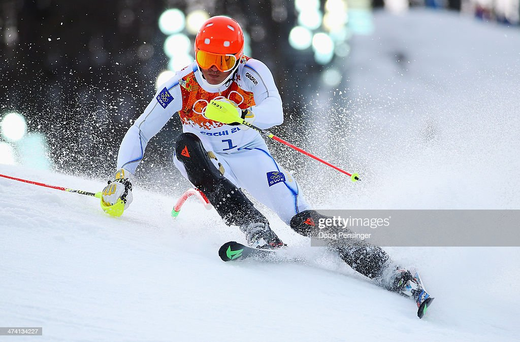 <a gi-track='captionPersonalityLinkClicked' href=/galleries/search?phrase=Andre+Myhrer&family=editorial&specificpeople=835341 ng-click='$event.stopPropagation()'>Andre Myhrer</a> of Sweden in action during the first run during the Men's Slalom during day 15 of the Sochi 2014 Winter Olympics at Rosa Khutor Alpine Center on February 22, 2014 in Sochi, Russia.