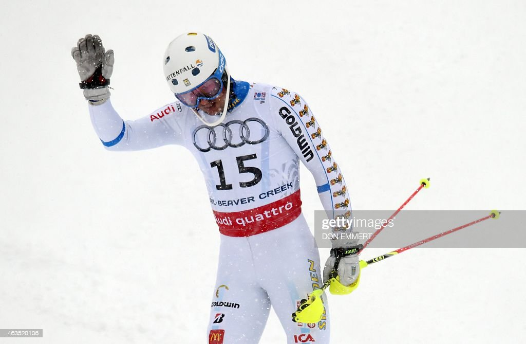 <a gi-track='captionPersonalityLinkClicked' href=/galleries/search?phrase=Andre+Myhrer&family=editorial&specificpeople=835341 ng-click='$event.stopPropagation()'>Andre Myhrer</a> of Sweden reacts after crossing the finish line during the 2015 World Alpine Ski Championships men's slalom February 15, 2015 in Beaver Creek, Colorado.