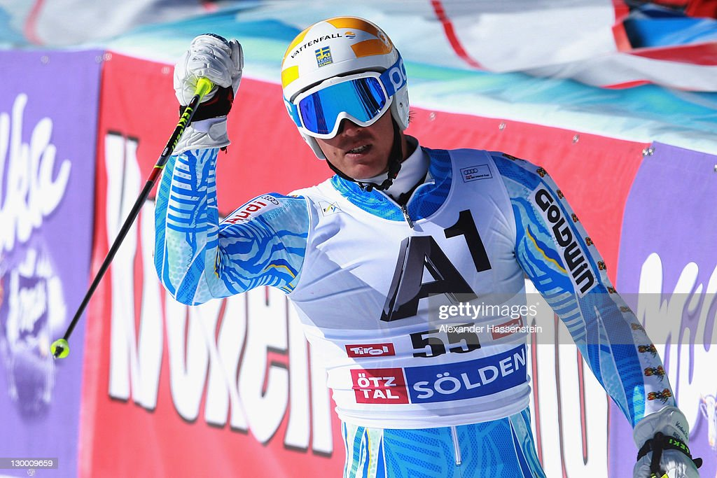 <a gi-track='captionPersonalityLinkClicked' href=/galleries/search?phrase=Andre+Myhrer&family=editorial&specificpeople=835341 ng-click='$event.stopPropagation()'>Andre Myhrer</a> of Sweden reacts after his 2nd run at the Men's Giant Slalom event of the Men's Alpine Skiing FIS World Cup at the Rettenbachgletscher on October 23, 2011 in Soelden, Austria.