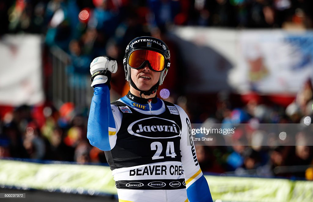 <a gi-track='captionPersonalityLinkClicked' href=/galleries/search?phrase=Andre+Myhrer&family=editorial&specificpeople=835341 ng-click='$event.stopPropagation()'>Andre Myhrer</a> of Sweden reacts after the second run of the Audi FIS Ski World Cup Giant Slalom race on the Birds of Prey on December 6, 2015 in Beaver Creek, Colorado.