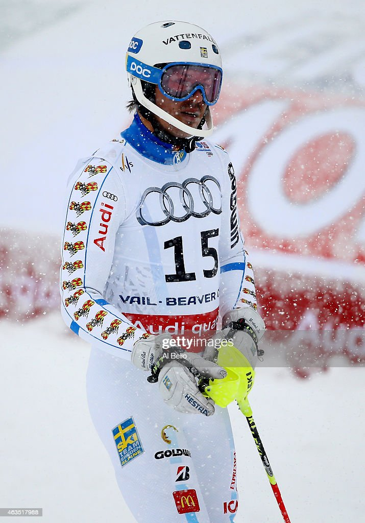 <a gi-track='captionPersonalityLinkClicked' href=/galleries/search?phrase=Andre+Myhrer&family=editorial&specificpeople=835341 ng-click='$event.stopPropagation()'>Andre Myhrer</a> of Sweden reacts during the Men's Slalom on the Birds of Prey racecourse on Day 14 of the 2015 FIS Alpine World Ski Championships on February 15, 2015 in Beaver Creek, Colorado.