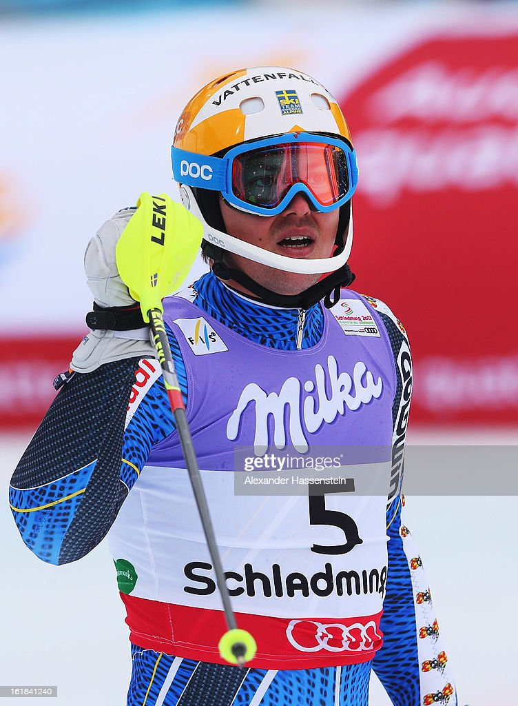 <a gi-track='captionPersonalityLinkClicked' href=/galleries/search?phrase=Andre+Myhrer&family=editorial&specificpeople=835341 ng-click='$event.stopPropagation()'>Andre Myhrer</a> of Sweden reacts in the finish area after skiing in the Men's Slalom during the Alpine FIS Ski World Championships on February 17, 2013 in Schladming, Austria.