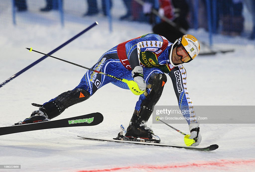 Andre Myhrer of Sweden takes 1st place during the Audi FIS Alpine Ski World Cup Men's Slalom on November 11, 2012 in Levi, Finland.