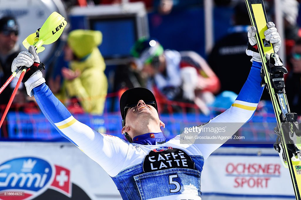 Andre Myhrer of Sweden takes 1st place during the Audi FIS Alpine Ski World Cup Finals Men's Slalom and Women's Giant Slalom on March 20 2016 in St...