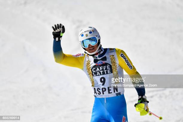 Andre Myhrer of Sweden takes 1st place during the Audi FIS Alpine Ski World Cup Finals Women's Giant Slalom and Men's Slalom on March 19 2017 in...