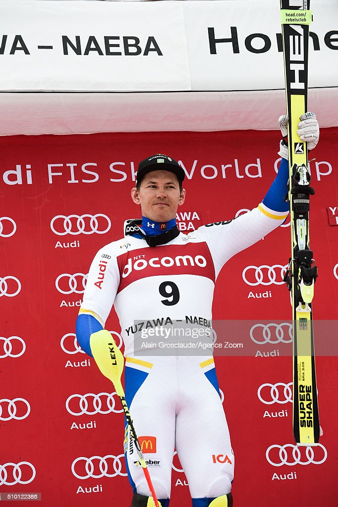 <a gi-track='captionPersonalityLinkClicked' href=/galleries/search?phrase=Andre+Myhrer&family=editorial&specificpeople=835341 ng-click='$event.stopPropagation()'>Andre Myhrer</a> of Sweden takes 2nd place during the Audi FIS Alpine Ski World Cup Men's Slalom on February 14, 2016 in Naeba, Japan.