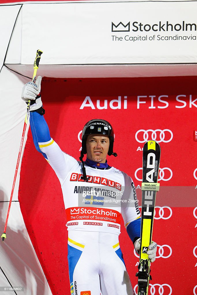 <a gi-track='captionPersonalityLinkClicked' href=/galleries/search?phrase=Andre+Myhrer&family=editorial&specificpeople=835341 ng-click='$event.stopPropagation()'>Andre Myhrer</a> of Sweden takes 2nd place during the Audi FIS Alpine Ski World Cup Men's and Women's City Event on February 23, 2016 in Stockholm, Sweden.