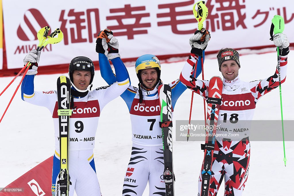 <a gi-track='captionPersonalityLinkClicked' href=/galleries/search?phrase=Andre+Myhrer&family=editorial&specificpeople=835341 ng-click='$event.stopPropagation()'>Andre Myhrer</a> of Sweden takes 2nd place, <a gi-track='captionPersonalityLinkClicked' href=/galleries/search?phrase=Felix+Neureuther&family=editorial&specificpeople=807800 ng-click='$event.stopPropagation()'>Felix Neureuther</a> of Germany takes 1st place, Marco Schwarz of Austria takes 3rd place during the Audi FIS Alpine Ski World Cup Men's Slalom on February 14, 2016 in Naeba, Japan.