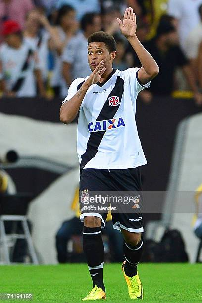 Andre of Vasco celebrates a goal against Fluminense during a match between Fluminense and Vasco as part of Brazilian Championship 2013 at Maracana...