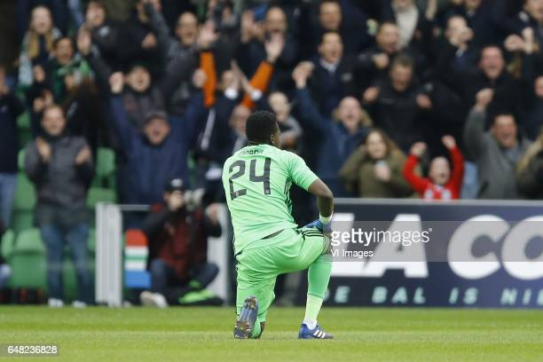 Andre Onana of Ajax Amsterdamduring the Dutch Eredivisie match between FC Groningen and Ajax Amsterdam at Noordlease stadium on March 05 2017 in...