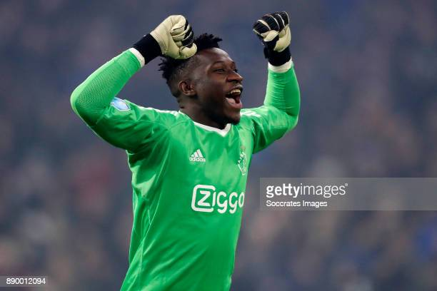 Andre Onana of Ajax Celebrate during the Dutch Eredivisie match between Ajax v PSV at the Johan Cruijff Arena on December 10 2017 in Amsterdam...